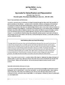 spring detox: clearing Kara Aubin Ayurveda for Detoxification and Rejuvenation