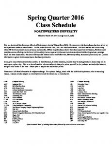 Spring Quarter 2016 Class Schedule
