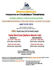 Spring Seminar. Early Bird Cost (before March 1st):