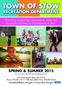 SPRING & SUMMER 2015 STOW RECREATION DEPARTMENT
