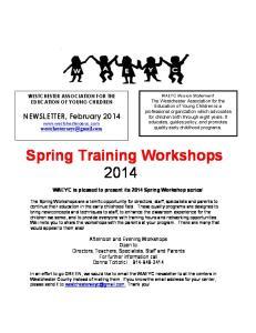 Spring Training Workshops 2014