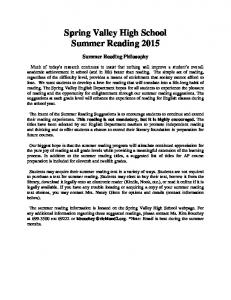Spring Valley High School Summer Reading 2015