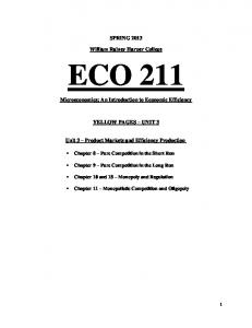 SPRING William Rainey Harper College ECO 211. Microeconomics: An Introduction to Economic Efficiency YELLOW PAGES UNIT 3