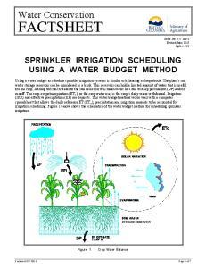 SPRINKLER IRRIGATION SCHEDULING USING A WATER BUDGET METHOD