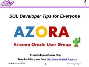 SQL Developer Tips for Everyone