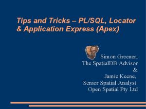 SQL, Locator & Application Express (Apex)