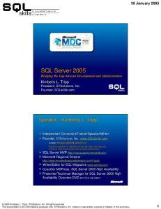 SQL Server 2005 Bridging the Gap between Development and Administration