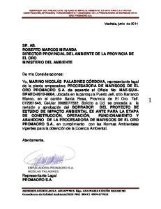 SR. AB. ROBERTO MARCOS MIRANDA DIRECTOR PROVINCIAL DEL AMBIENTE DE LA PROVINCIA DE EL ORO MINISTERIO DEL AMBIENTE