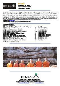 Sri Lanka Ayubowan Sri Lanka Reisenummer: Reisedauer: 15 Tage