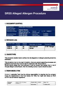 SRSS Alleged Allergen Procedure