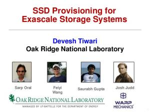 SSD Provisioning for Exascale Storage Systems