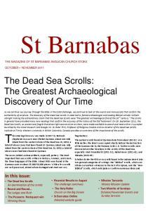 St Barnabas THE MAGAZINE OF ST BARNABAS ANGLICAN CHURCH STOKE