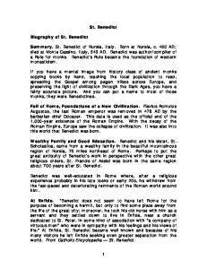 St. Benedict. Biography of St. Benedict