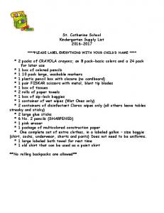 St. Catherine School Kindergarten Supply List