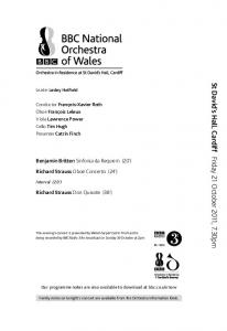 St David s Hall, Cardiff Friday 21 October 2011, 7.30pm