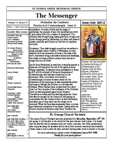 ST. GEORGE GREEK ORTHODOX CHURCH. The Messenger. Methodios the Confessor Patriarch of Constantinople - June 14
