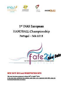 st INAS European HANDBALL Championship