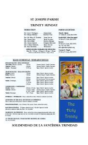 ST. JOSEPH PARISH. TRINITY Sunday
