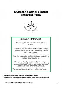 St Joseph`s Catholic School Behaviour Policy