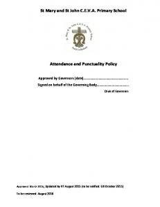 St Mary and St John C.E.V.A. Primary School. Attendance and Punctuality Policy