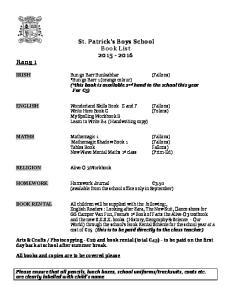 St. Patrick s Boys School Book List