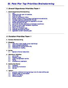 St. Pete Pier Top Priorities Brainstorming