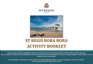 ST REGIS BORA BORA ACTIVITY BOOKLET