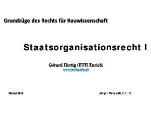 Staatsorganisationsrecht I