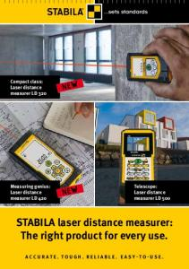 STABILA laser distance measurer: The right product for every use