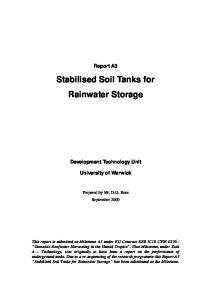 Stabilised Soil Tanks for Rainwater Storage