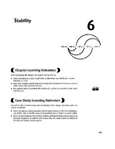 Stability * ^ Chapter Learning Outcomes J) ^ Case Study Learning Outcomes^