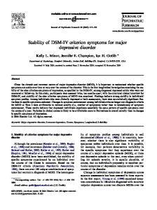 Stability of DSM-IV criterion symptoms for major depressive disorder