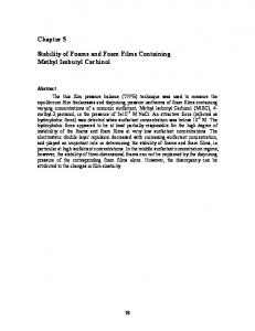 Stability of Foams and Foam Films Containing Methyl Isobutyl Carbinol