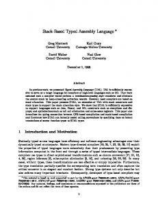 Stack-Based Typed Assembly Language