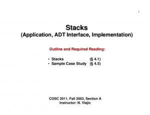 Stacks (Application, ADT Interface, Implementation)