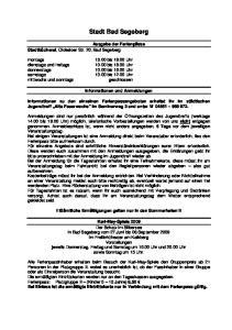 Stadt Bad Segeberg. Informationen und Anmeldungen
