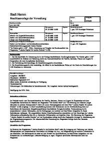Stadt Hamm Beschlussvorlage der Verwaltung