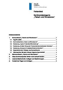 Stadt Luzern. Faktenblatt. Sortimentskategorie Fleisch und Wurstwaren. Inhaltsverzeichnis. 1. Kernsortiment Fleisch und Wurstwaren 2