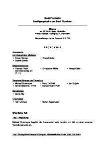 Stadt Pforzheim Beteiligungsbeirat der Stadt Pforzheim P R O T O K O L L