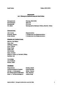 Stadt Putbus Putbus, Niederschrift der 7. Sitzung der Stadtvertretung der Stadt Putbus. Sitzungssaal des Rathauses Putbus, Markt 8, Putbus