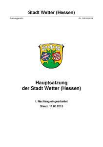 Stadt Wetter (Hessen) Satzungsrecht Az Hauptsatzung der Stadt Wetter (Hessen)