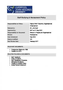 Staff Bullying & Harassment Policy