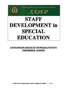 STAFF DEVELOPMENT in SPECIAL EDUCATION