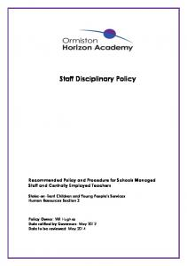 Staff Disciplinary Policy