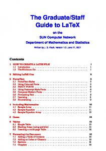 Staff Guide to LaTeX