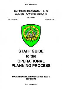 STAFF GUIDE to the OPERATIONAL PLANNING PROCESS