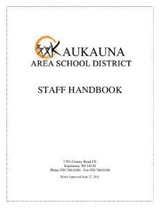 STAFF HANDBOOK County Road CE Kaukauna, WI Phone Fax