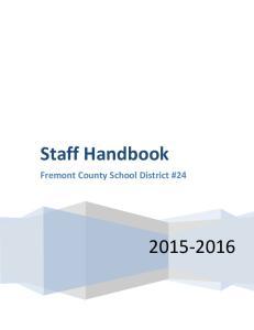 Staff Handbook. Fremont County School District #24