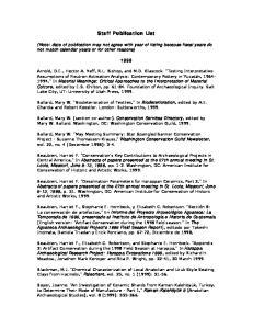 Staff Publication List