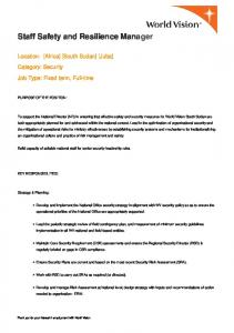 Staff Safety and Resilience Manager